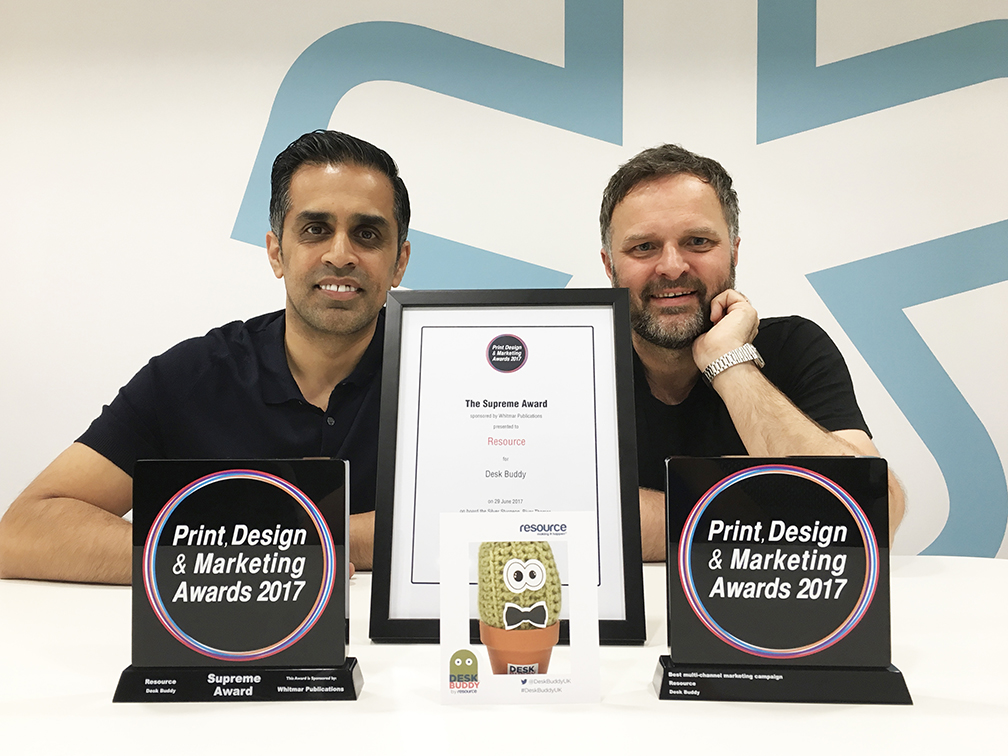 Asif Choudry with Desk Buddy creator Lee Grasby