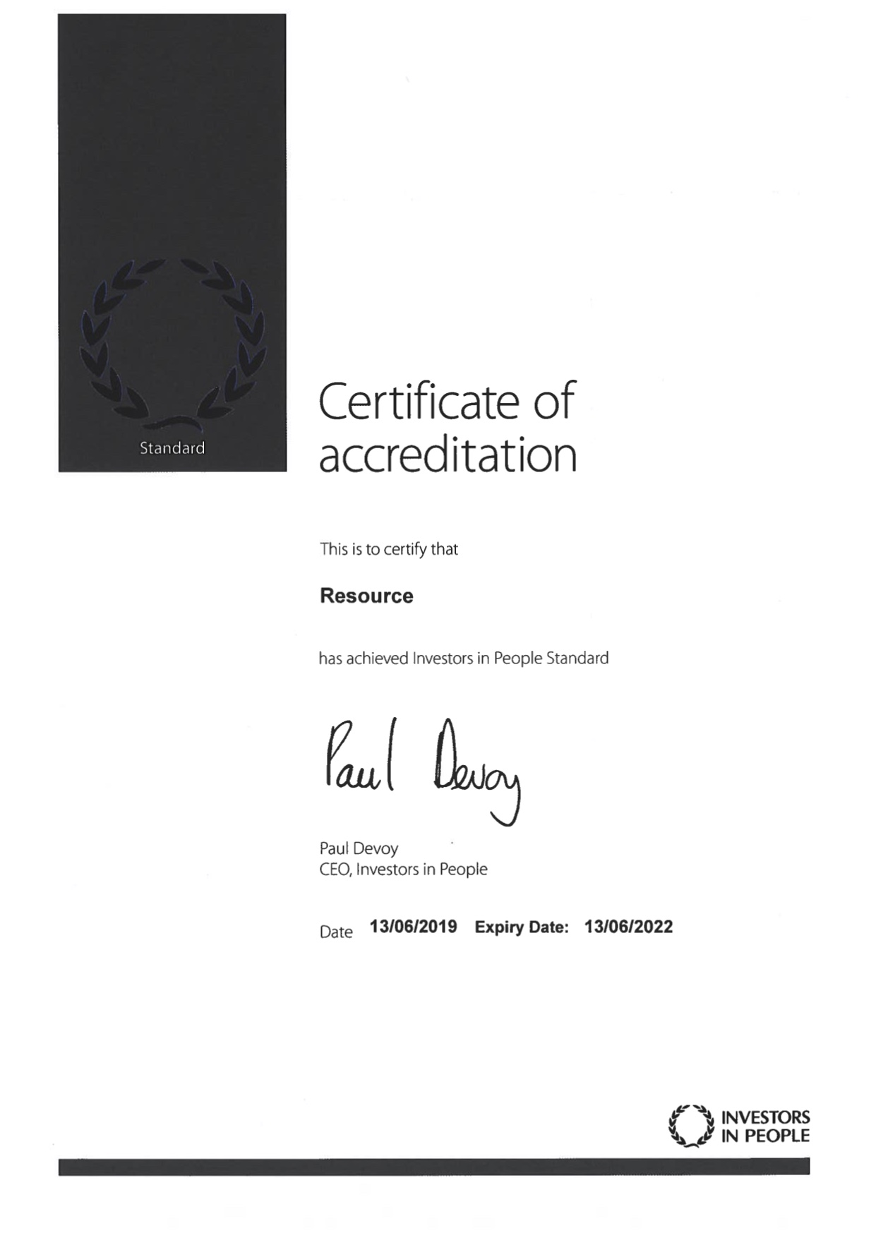 IIP Certificate Of Accreditation June 2019